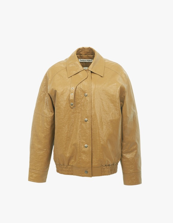 TheOpen Product Patent Faux Leather Bomber Jacket - Beige | HEIGHTS. | 하이츠 온라인 스토어