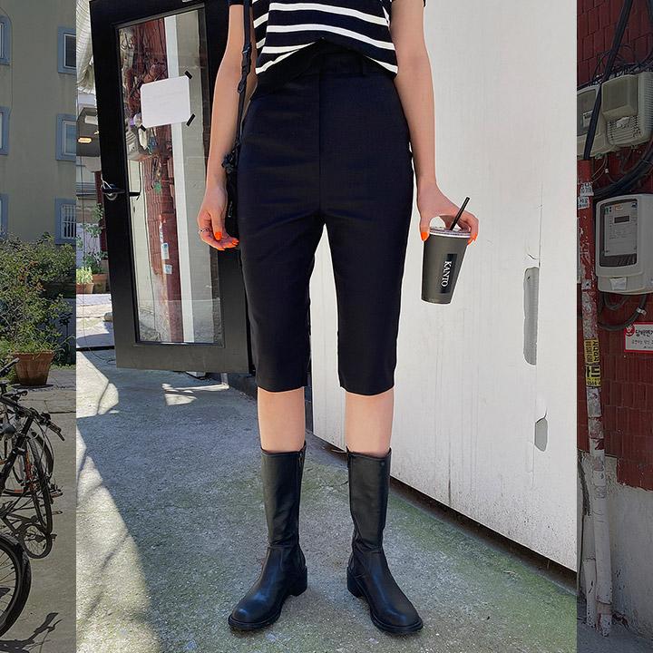 슬림바이커하프반바지-shorts