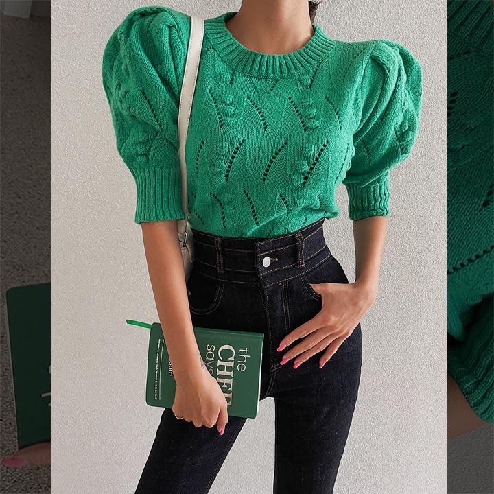 [라걸BEST] 방울퍼프니트-knit