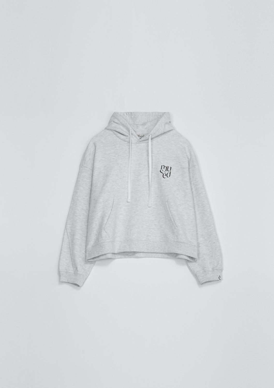 Mused Logo Hood Sweatshirt - Melange Grey