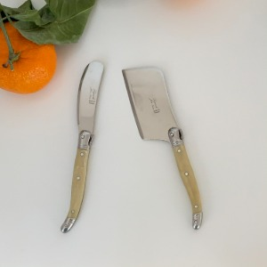 Marble Beige Cheese cutter, Cheese fork, Butter spread Laguiole