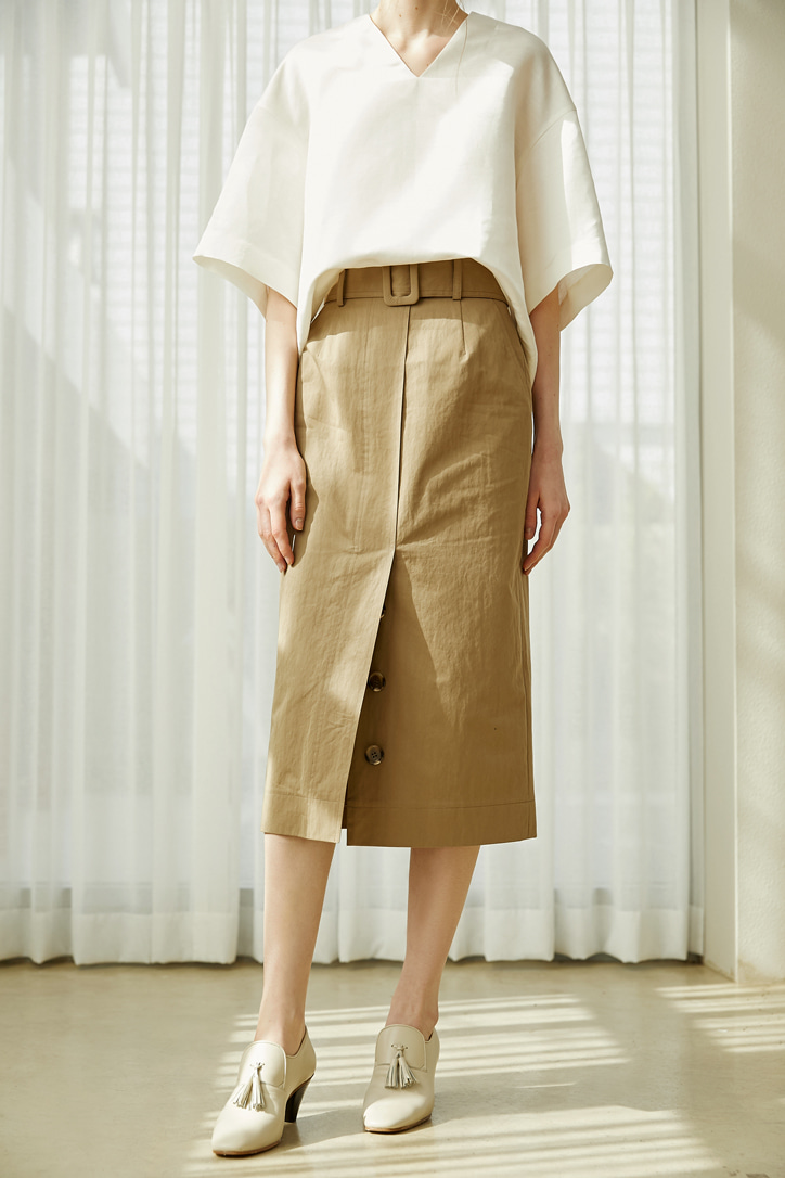 Belted Cotton-blend Midi Skirt (2 colors)