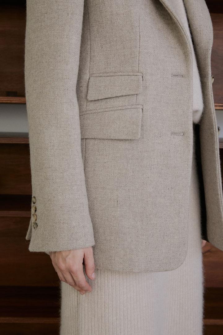 Numero 069: Asymmetric Pockets Wool Jacket (Oatmeal)
