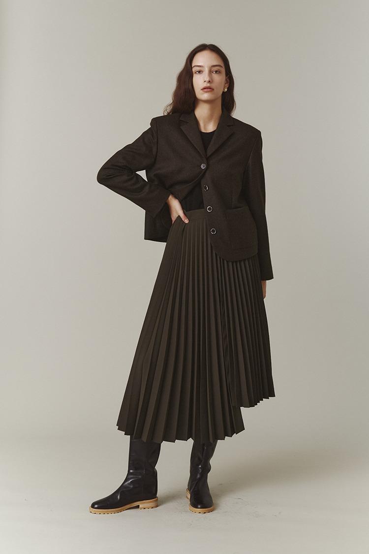 Asymmetric Pleated Skirt (Mocha)