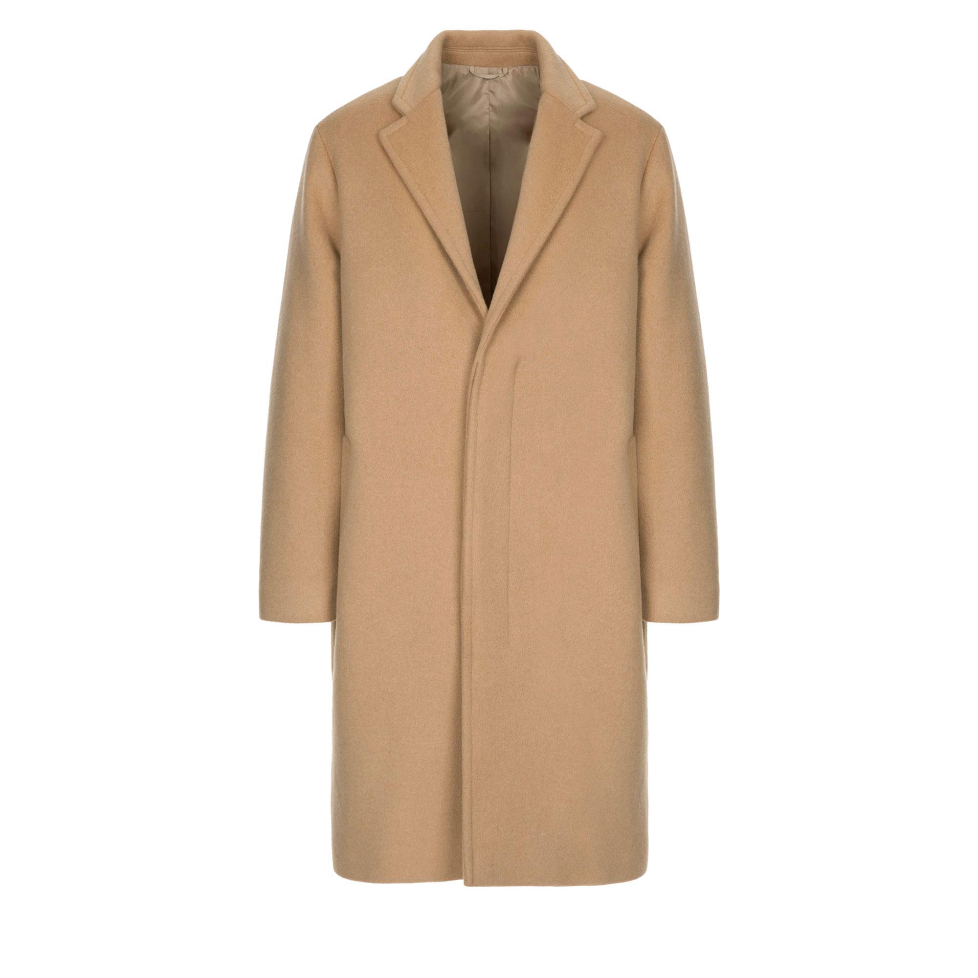 hidden button wool single coat / beige