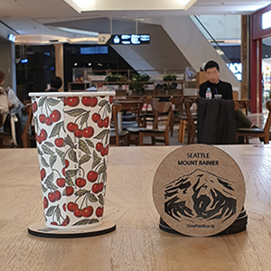 RainiorMount Coasters,  We will engrave the coffee shop logo.  36pcs of coasters can be made by sending 1 logo