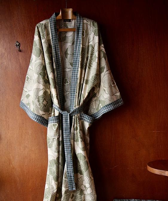 Kimono - Moss Green Flower