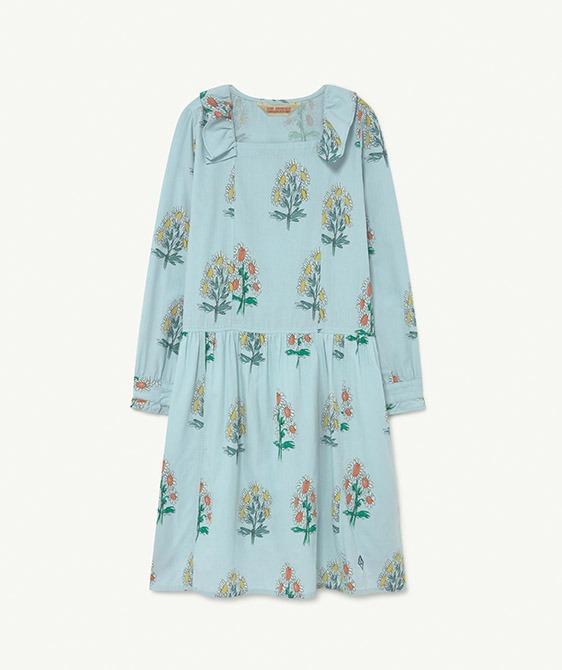 Tortoise Kids Dress - Soft Blue Flowers  (F21130)