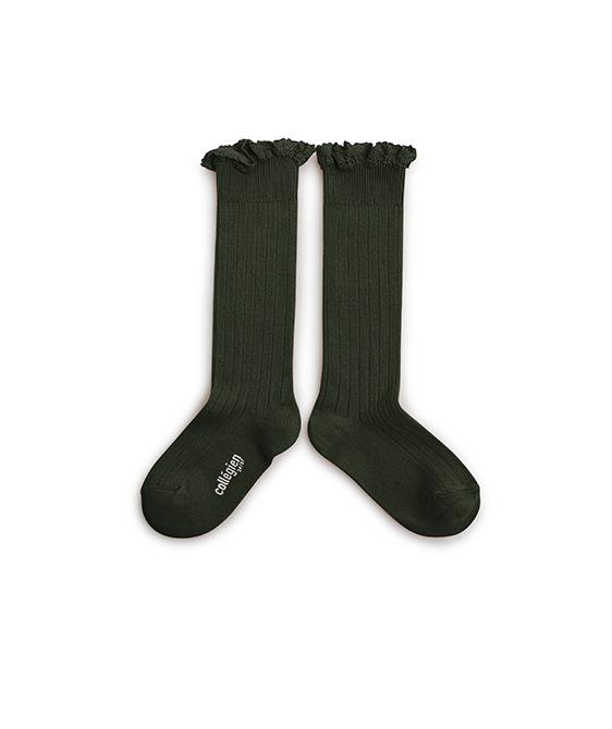 Josephine Lace Trim Knee-High Socks - 2954 #785 Vert Foret