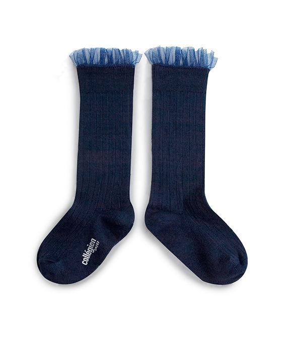 Manon Tulle Ribbed Knee-High Socks - 2957 #044 Nuit Etoilee
