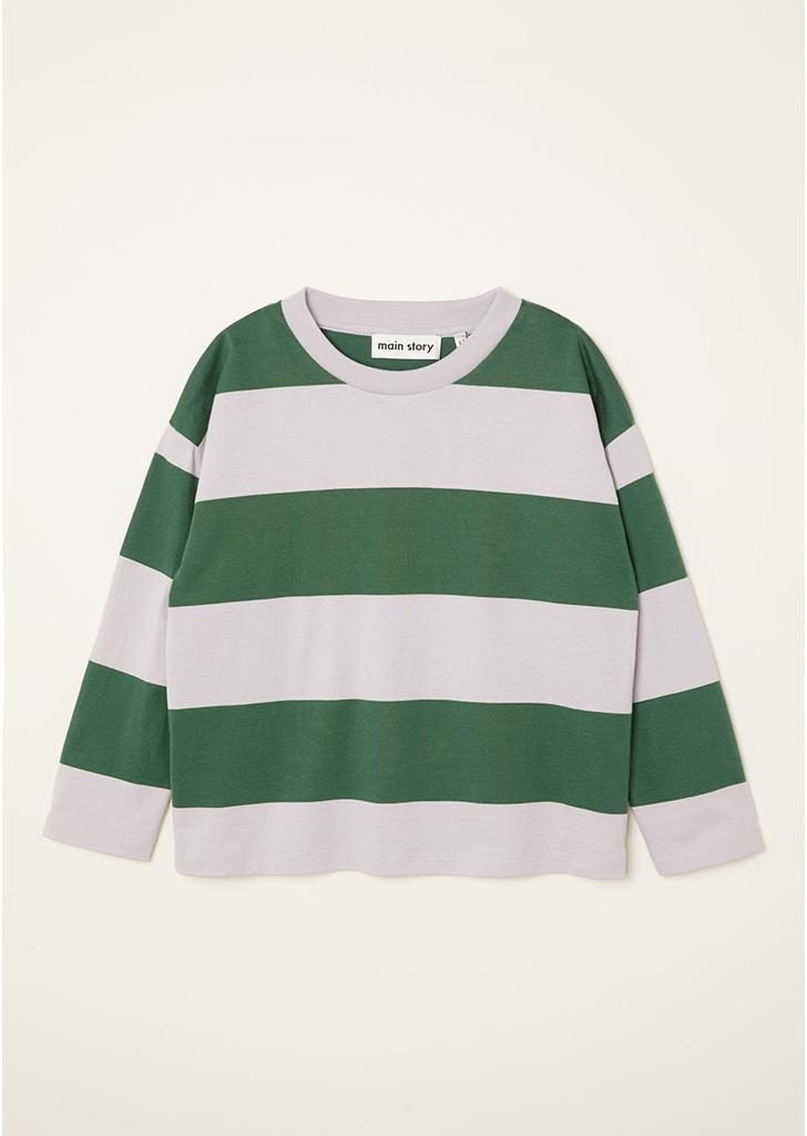 LS Tee - Lilac Marble / Green Stripe