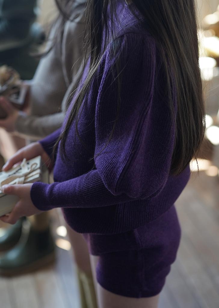Puff Sleeve Sweater - Purple