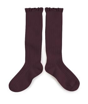 Josephine Lace Trim Knee-High Socks - 2954 #886 Aubergine