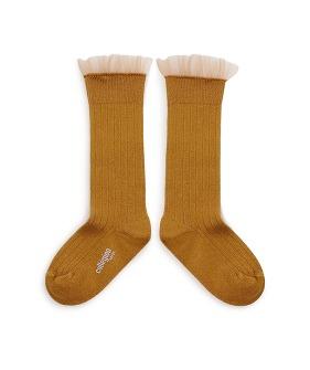 Manon Tulle Ribbed Knee-High Socks - 2957 #C37 Dijon Mustard