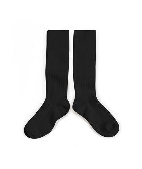 Plain Ribbed Knee-High Socks - 2950 #171 Noire De Charbon