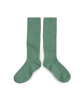 Plain Ribbed Knee-High Socks - 2950 #748 Celadon