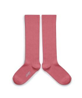 Plain Ribbed Knee-High Socks - 2950 #787 Rose Litchi