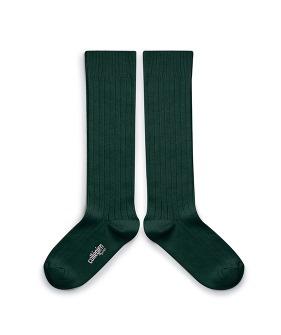 Plain Ribbed Knee-High Socks - 2950 #785 Vert Foret