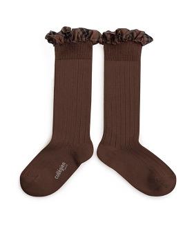 Tartan Ruffle Ribbed Knee-High Socks - 2963 #786 Chocolate Au Lait