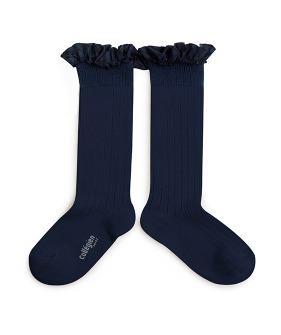 Tartan Ruffle Ribbed Knee-High Socks - 2963 #044 Nuit Etoilee