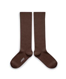 Plain Ribbed Knee-High Socks - 2950 #786 Chocolate Au Lait