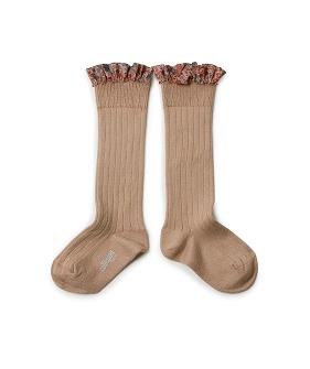 Liberty Ruffle Ribbed Knee-High Socks - 2956 #226 Petite Taupe