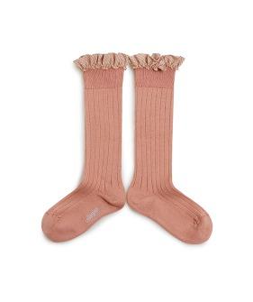 Apolline Gingham Ruffle Ribbed Knee-High Socks - 2961 #723 Bois De Rose