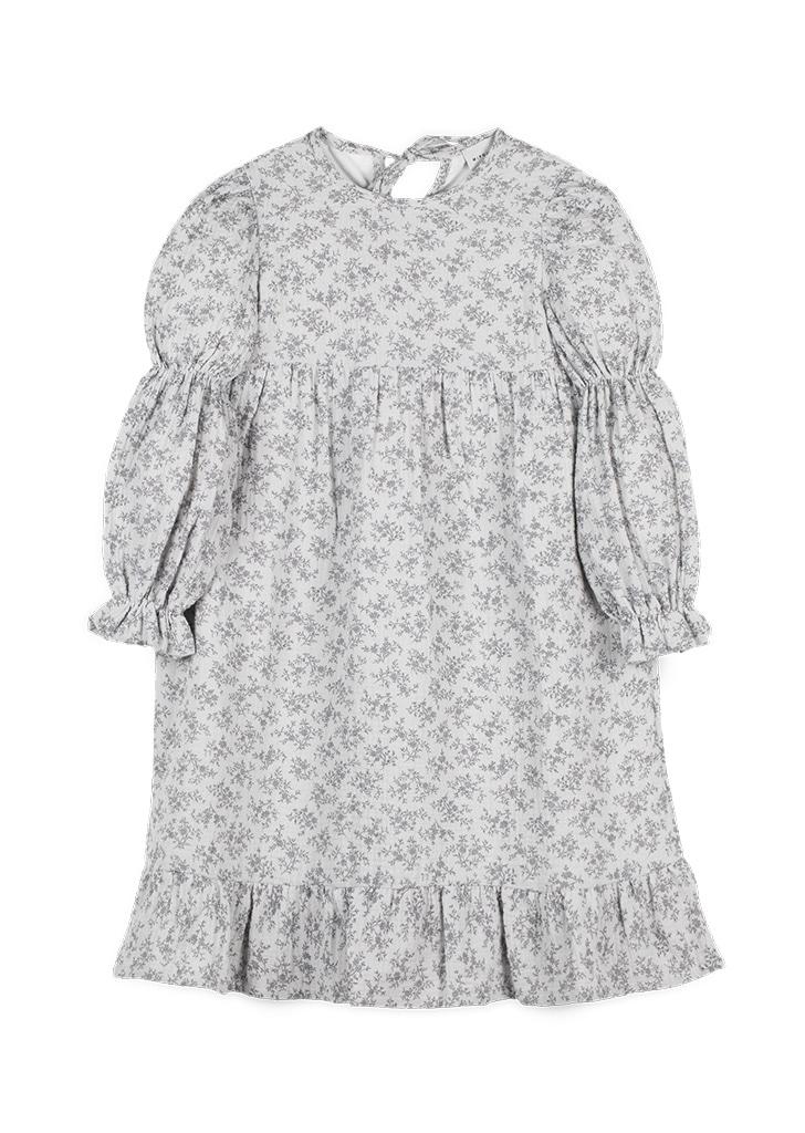 Flowers Print Museline Dress - Grey / Print
