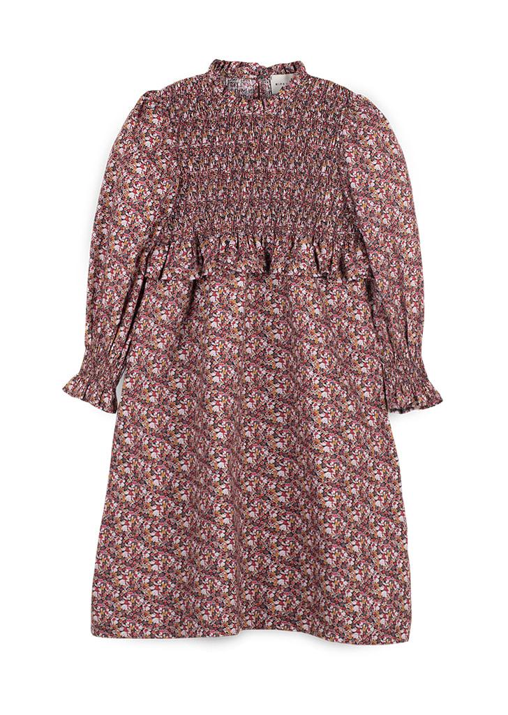 Smock Popelin Dress  - Burgundy / Print