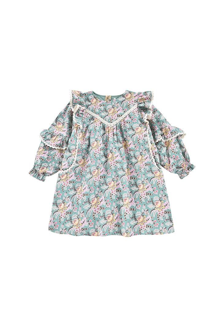 ◆2Drop◆ Lara Dress - Blue French Flowers