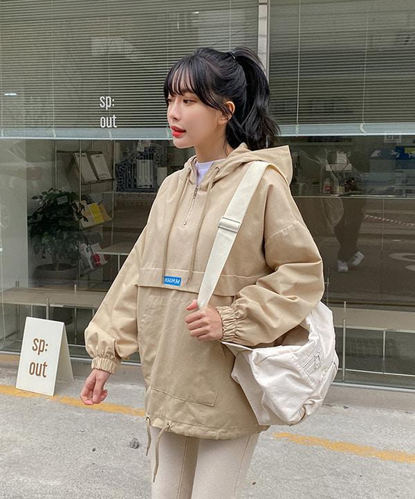 봄신상 심플 레터링 후드 영문자수 아노락