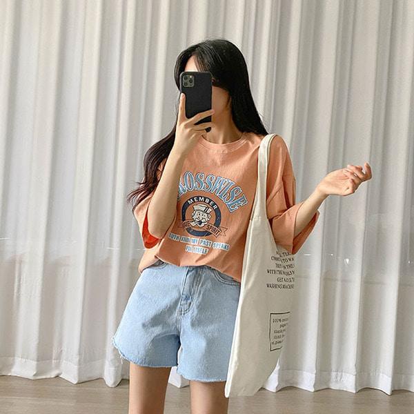스윙 프린팅 레터링 박시핏 반팔 티셔츠