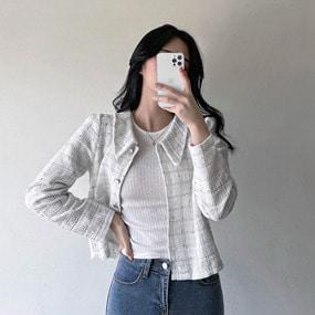레옹 카라 트위드 체크 자켓