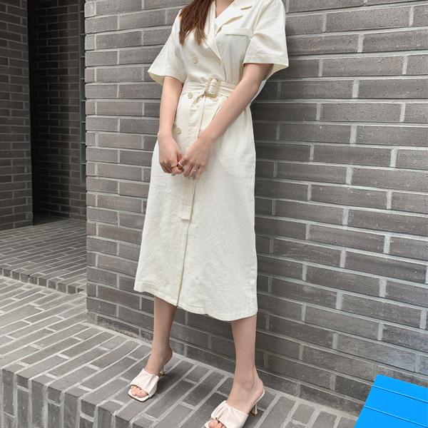 女伶款雙排釦翻領短袖洋裝(附方釦腰帶)