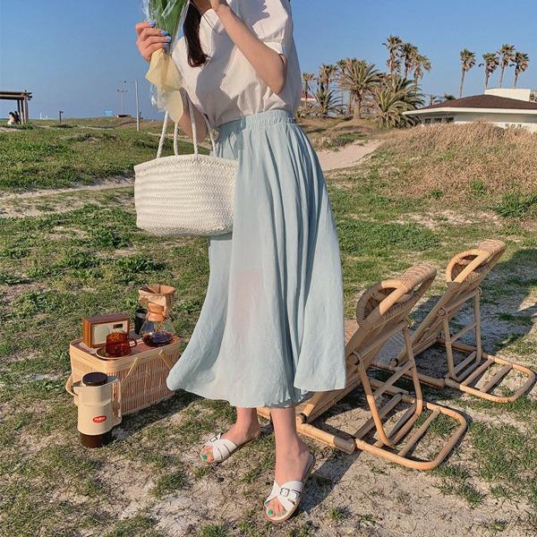 鬆緊腰素色微透膚傘襬長裙