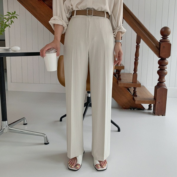 隱形鬆緊腰單釦羅紋西裝寬褲