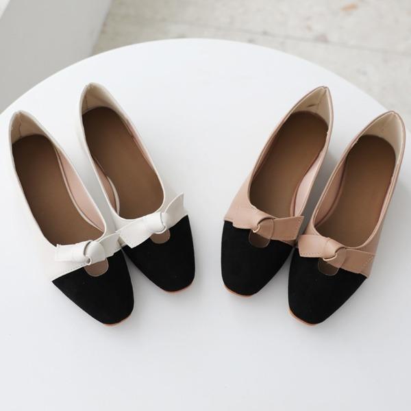 拼色鞋頭蝴蝶結裝飾平底鞋