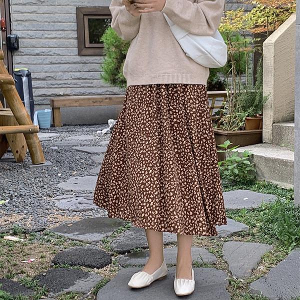 配色小花葉鬆緊腰長裙