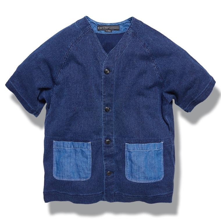 DV. LOT606 Double-Weave 1/2 Shirts (Sashiko) -INDIGO-