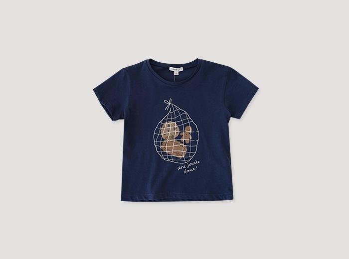 토피넛 티셔츠 - 네이비