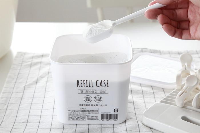 화이트 리필 용기 정사각 케이스 1000ml - 세제소분 보관용기