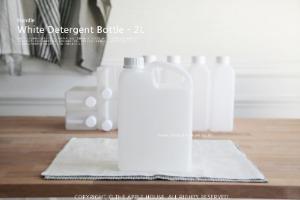 2L 화이트 사각 소분용기 - 세제용기 보관용기 잡곡통