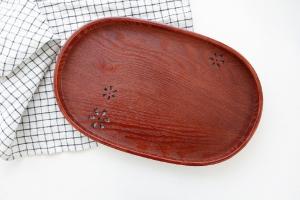 엔틱 오벌 우드 트레이 - 벚꽃 쟁반