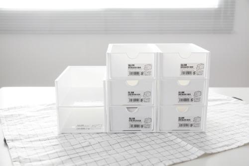 화이트 슬림 서랍 박스 - 원하는대로 구성/조립 가능 주방 수납 정리 서랍장 수납장