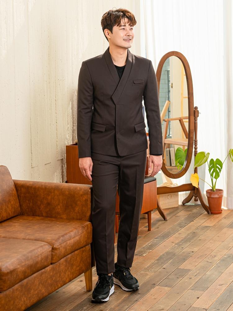 한복 깃 정장 수트 (브라운)