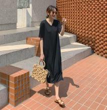 極簡魅力開衩襬V領長洋裝