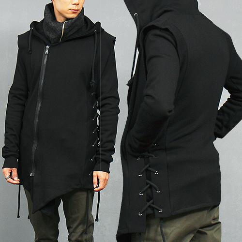 Avant garde Side Eyelet Strap Hooded Unbalanced Hem Sweatjacket