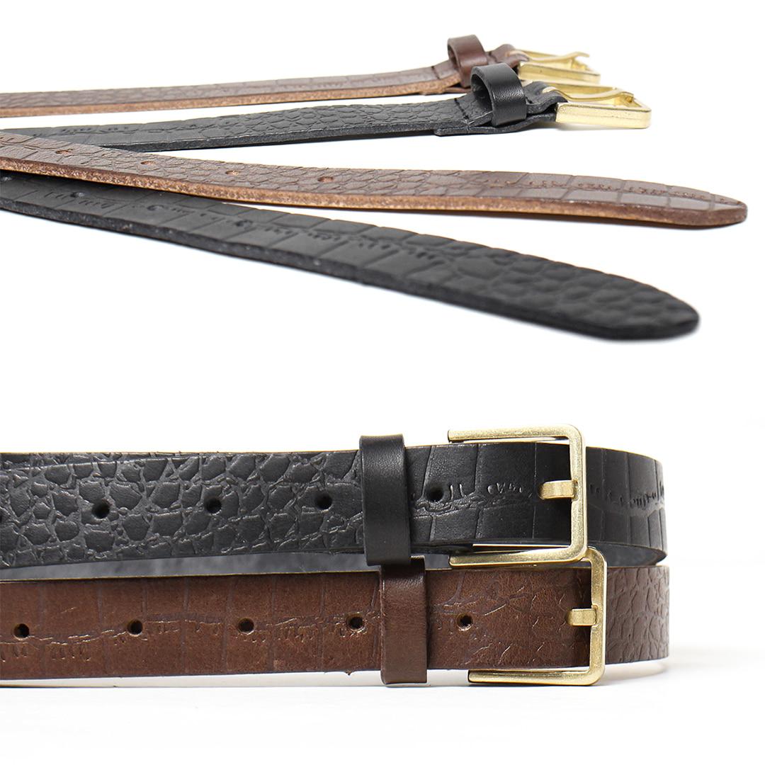 Unisex Crocodile Pattern Gold Tone Square Buckle Slim Leather Belt 019