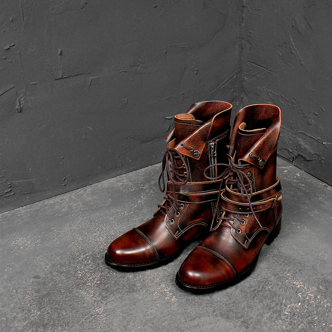 Handmade Buckle Wrap Brown Tanned Zipper Leather Boots 545