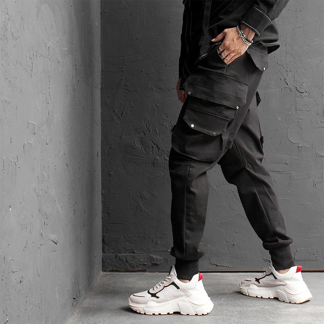 Techwear Slim Fit Big Cargo Pocket Joggers 568